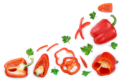 red sweet bell pepper isolated on white background with copy space for your text. Top view. Flat lay.