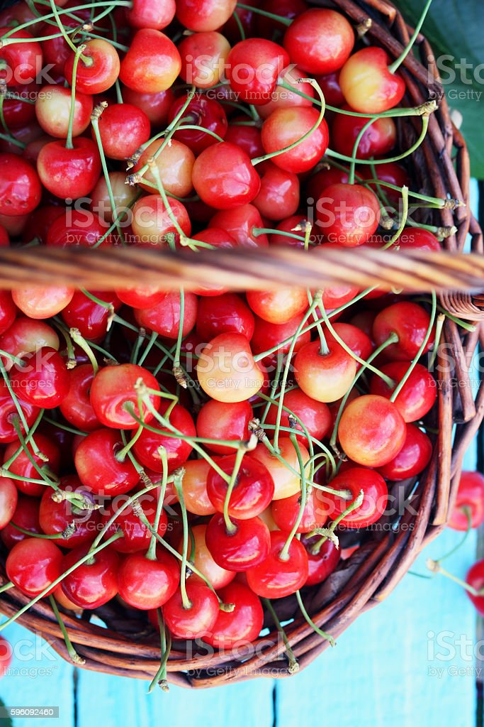 red sweet cherries, top view royalty-free stock photo