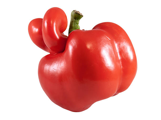 red sweet pepper - imperfection stock photos and pictures