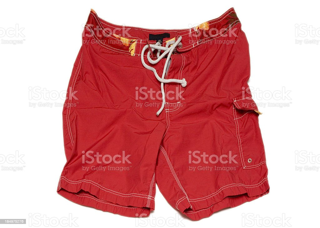 Red Swimming Shorts Trunks (isolated, clipping path) stock photo
