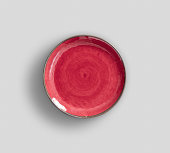 Red Swirl Melamine Plate with light gray background