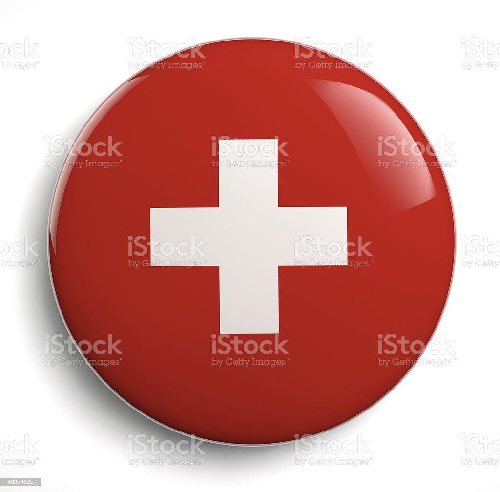 Red Swiss Flag White Cross stock photo