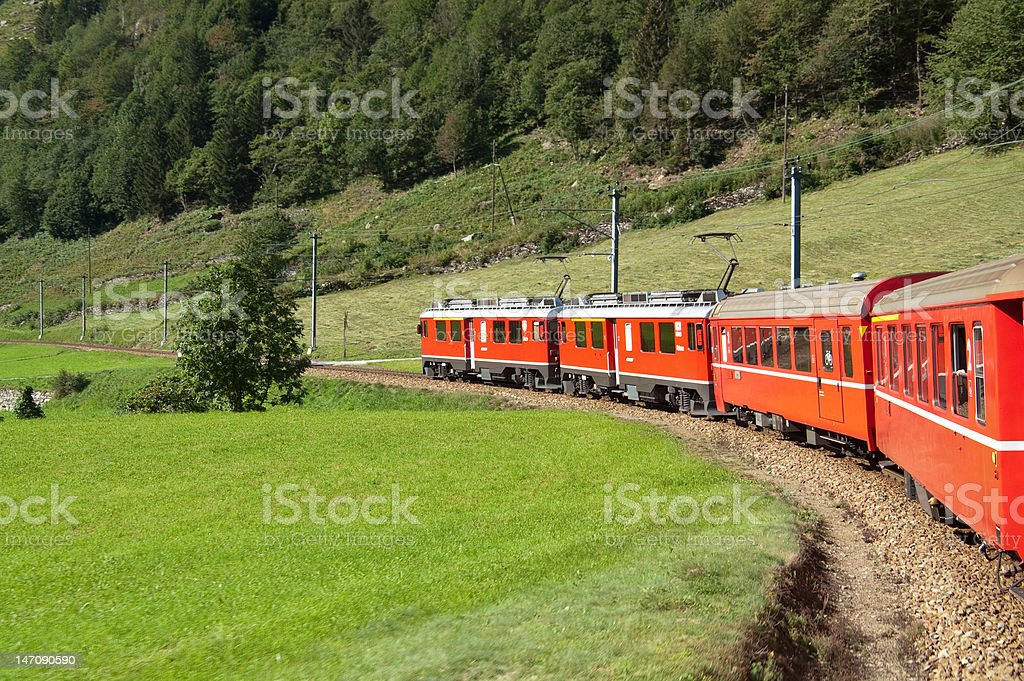 Red Swiss Train stock photo