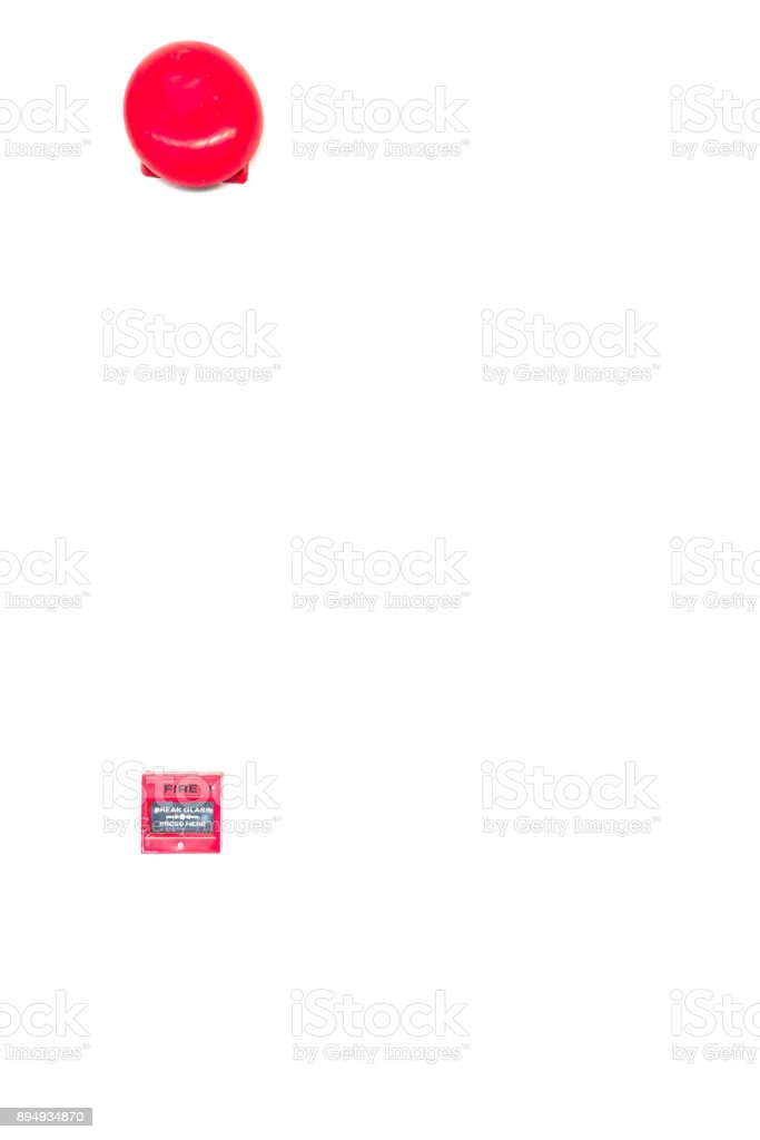 Red Switch fire alarm on white background stock photo