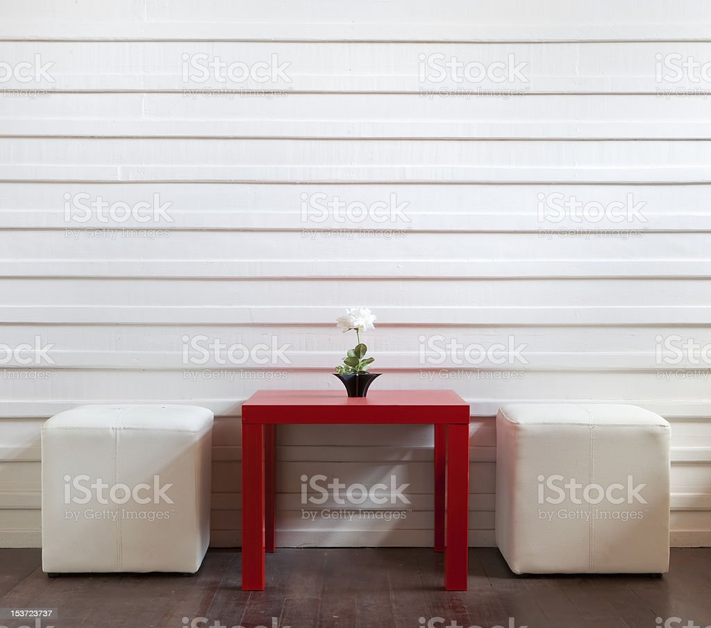 red table and white stools royalty-free stock photo