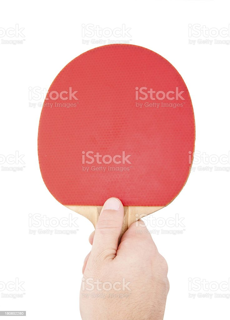 Red table tennis racket in the hand royalty-free stock photo