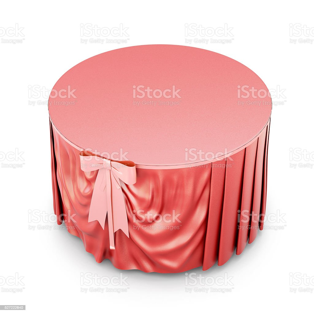 Red tablecloth with bow isolated on white background. 3d render stock photo