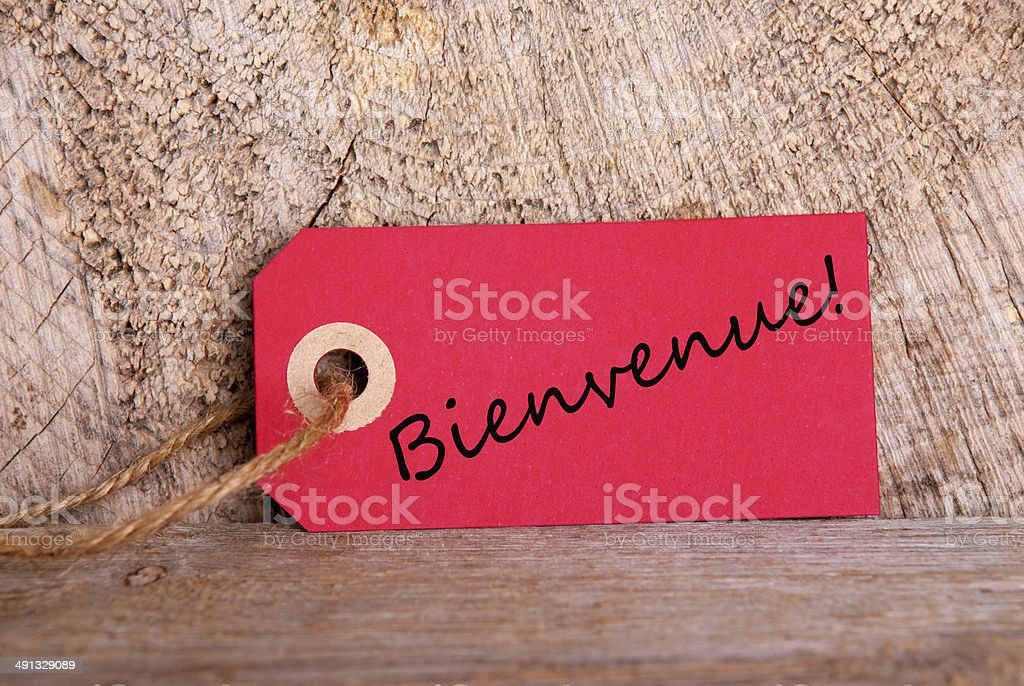 Red Tag with Bienvenue stock photo