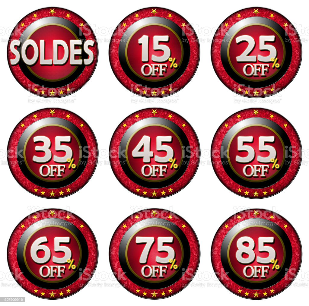 Red tag with discounts soldes set stock photo