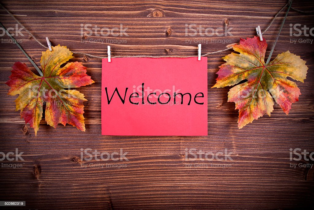 Red Tag with Welcome stock photo