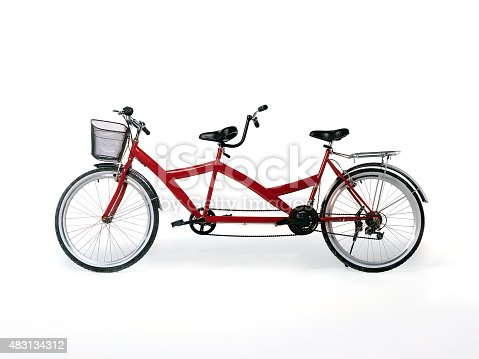 red tandem bicycle on white background