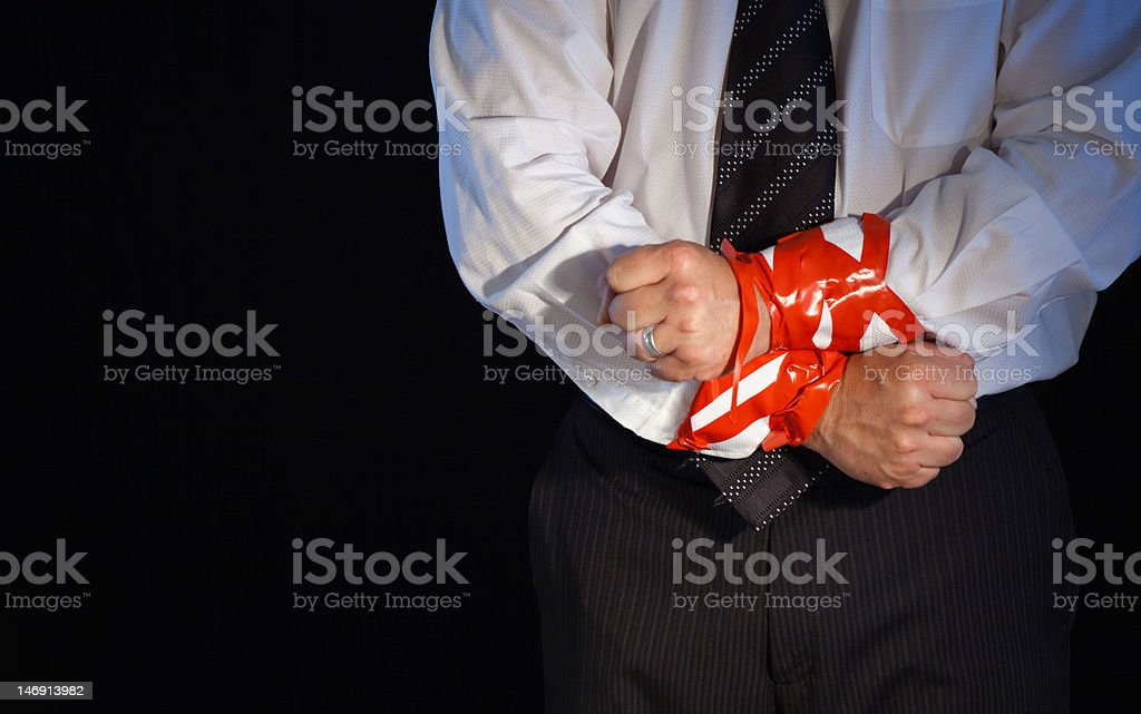 Red Tape Tie Up stock photo