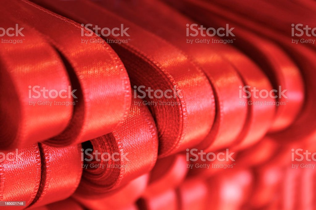 Red tapes rolled stock photo