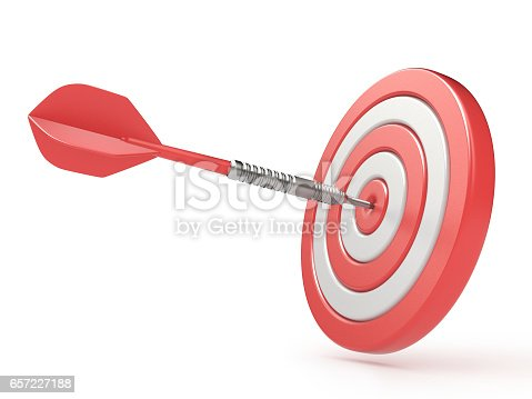 859332096istockphoto Red target and dart hitting center. 3D 657227188