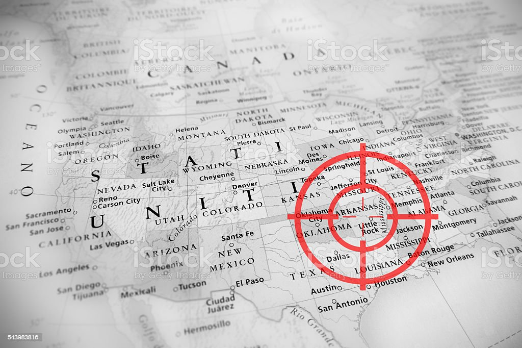 Red target on tilted United States map ( Arkansas ) stock photo