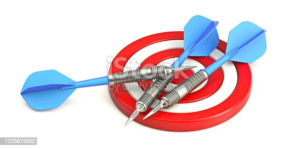 826378430 istock photo Red target with blue darts 3D 1225675002