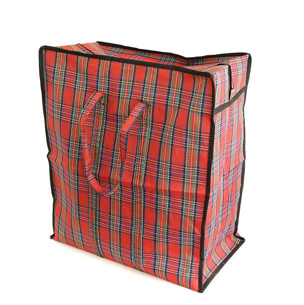 Red tartan bag stock photo