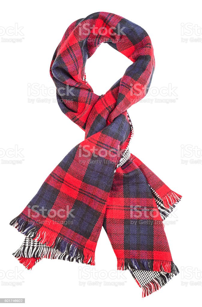 Red tartan scarf stock photo