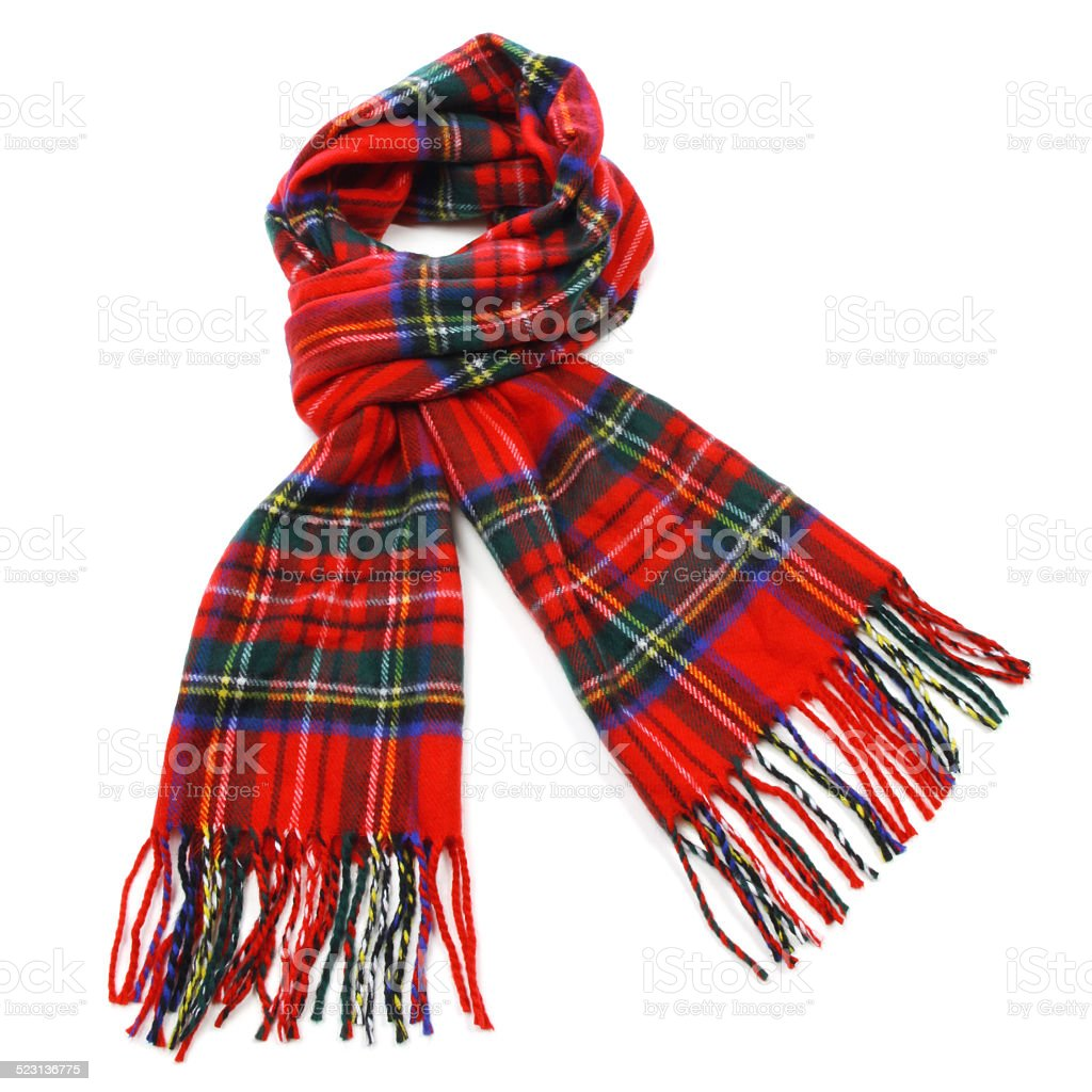Red tartan wool winter scarf stock photo