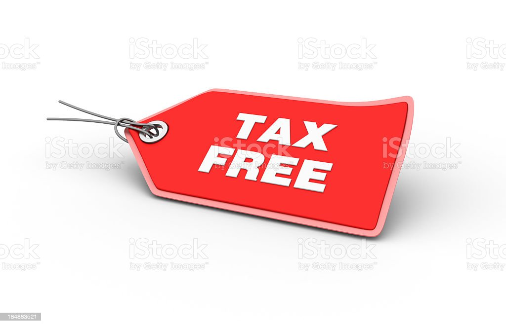 Red tax free tag with shadowed background stock photo