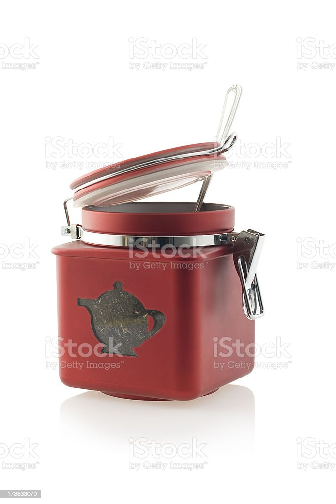 Red tea caddy isolated. stock photo