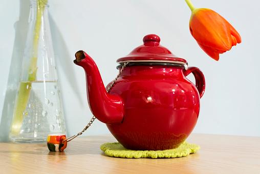 Red teapot and orange tulip