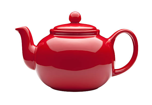 Red Teapot with a clipping path stock photo