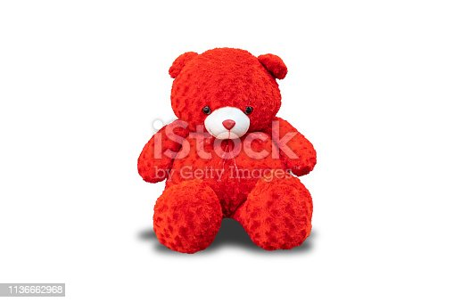 Red teddy bear,isolated on white background with clipping path.