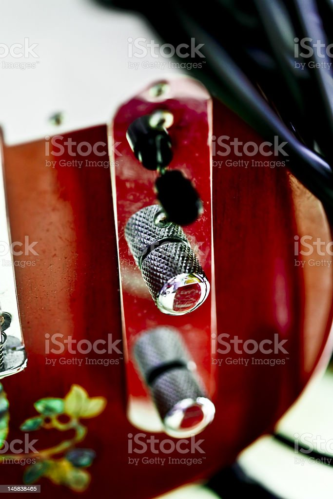 Red telecatser electric guitar stock photo