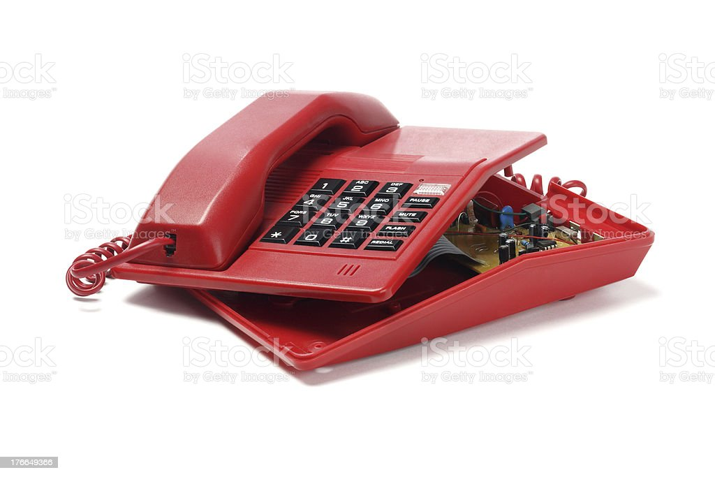 Red Telephone And Components royalty-free stock photo