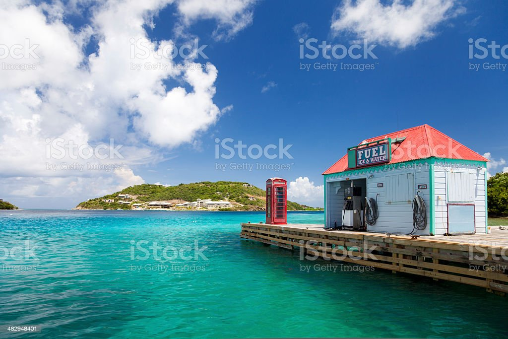 red telephone booth and fuel dock at Marina Cay, BVI stock photo