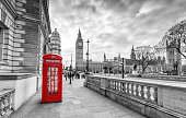 Red Telephone Booth in London with Big Ben in the background