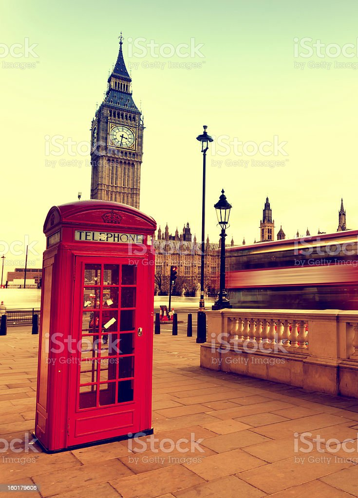 Red telephone booth royalty-free stock photo