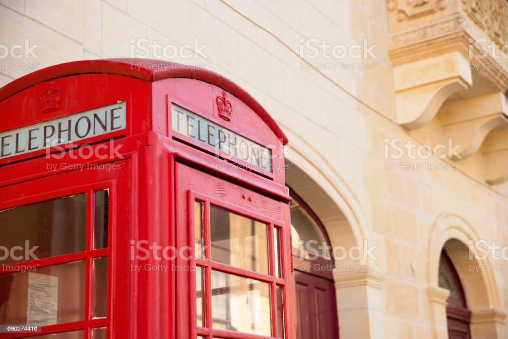 Red telephone booth stock photo