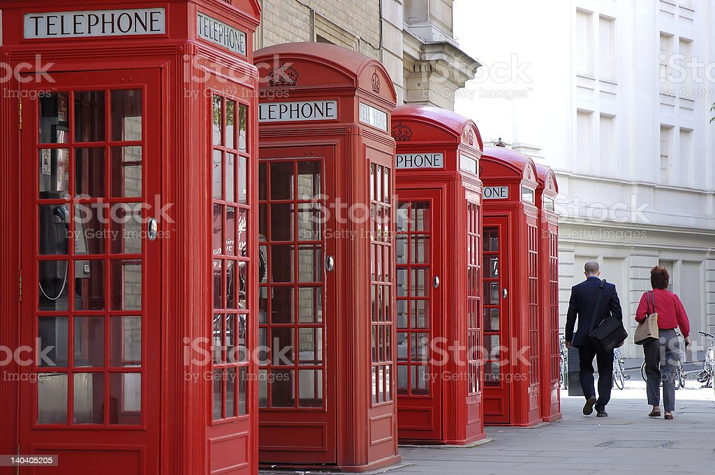 Red telephone booths in London stock photo