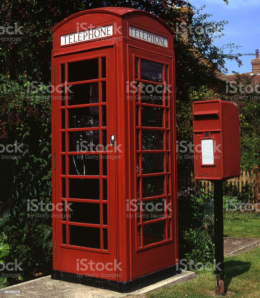Red Telephone Box and Postbox at Shipley, West Sussex, England royalty-free stock photo