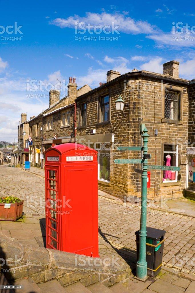 Red Telephone Box Haworth North Yorkshire stock photo