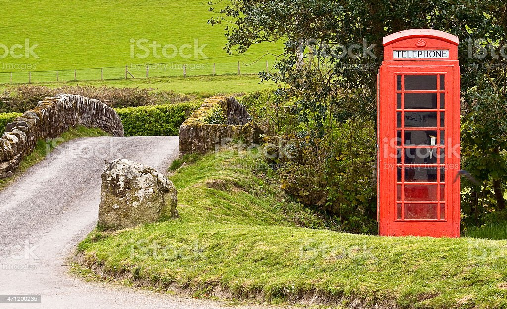 Red Telephone Box in the Country royalty-free stock photo