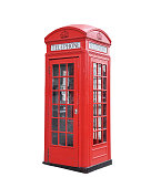Red telephone box isolated on a white background.
