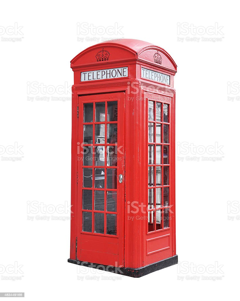 Red telephone box. stock photo
