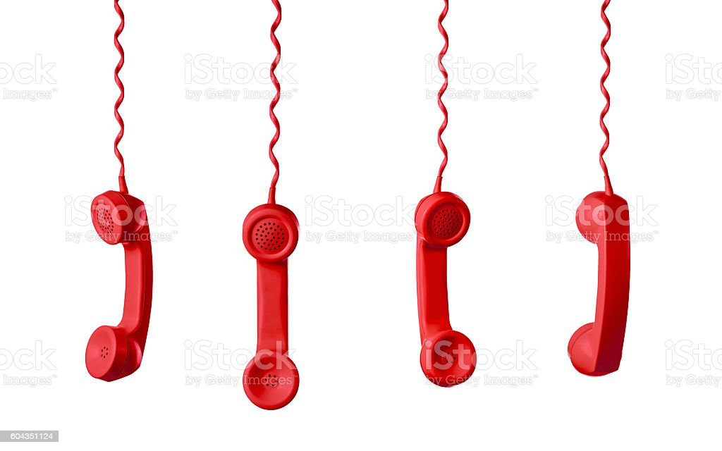 Red Telephone Receiver isolated on a white background stock photo