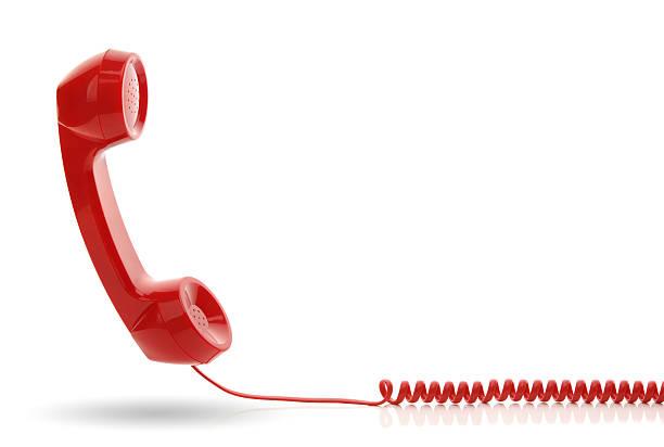 rosso ricevitore del telefono - cornetta telefono foto e immagini stock