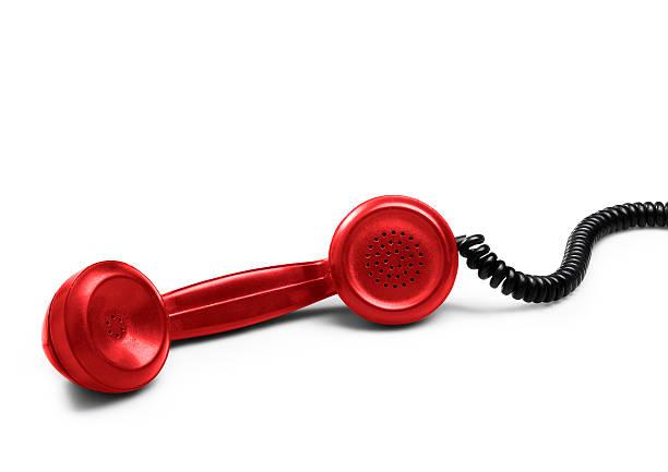 rosso ricevitore del telefono (isolato) con ombra - cornetta telefono foto e immagini stock