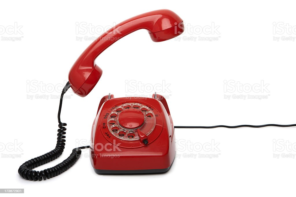 Red telephone with receiver off the hook royalty-free stock photo