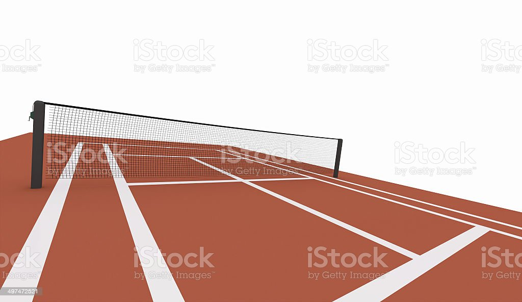 レッドのテニスコートに表現されたホワイト ストックフォト