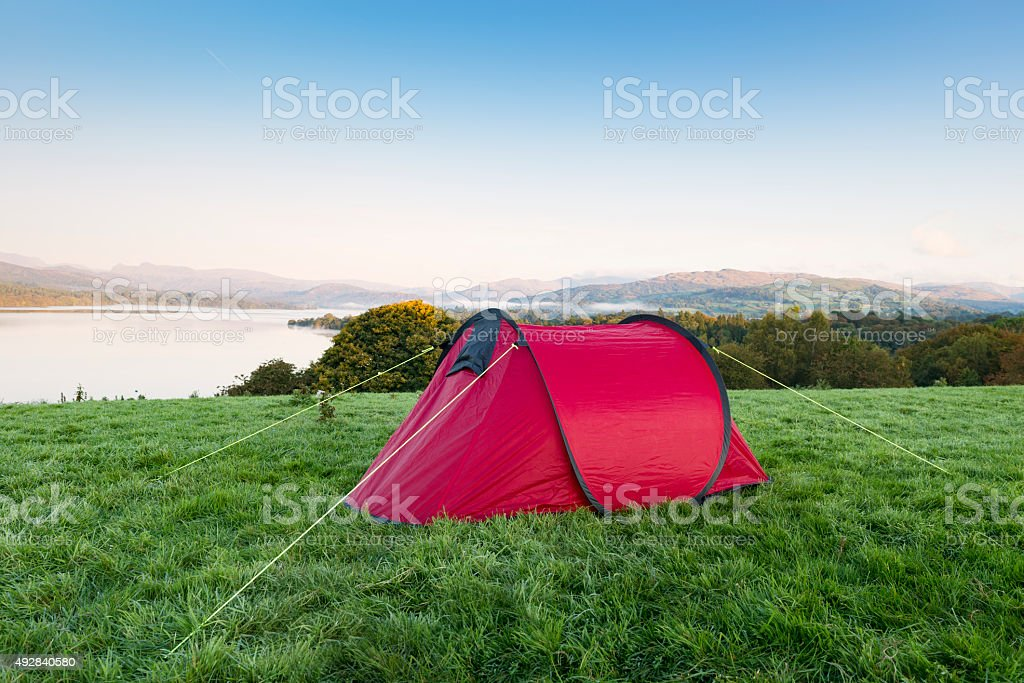 red Tent Over looking Lake Windermere stock photo