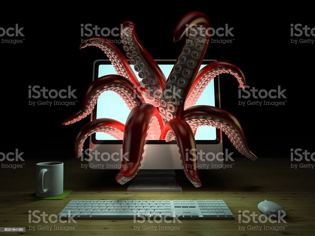 Red tentacles getting out of the computer monitor 3D rendering stock photo