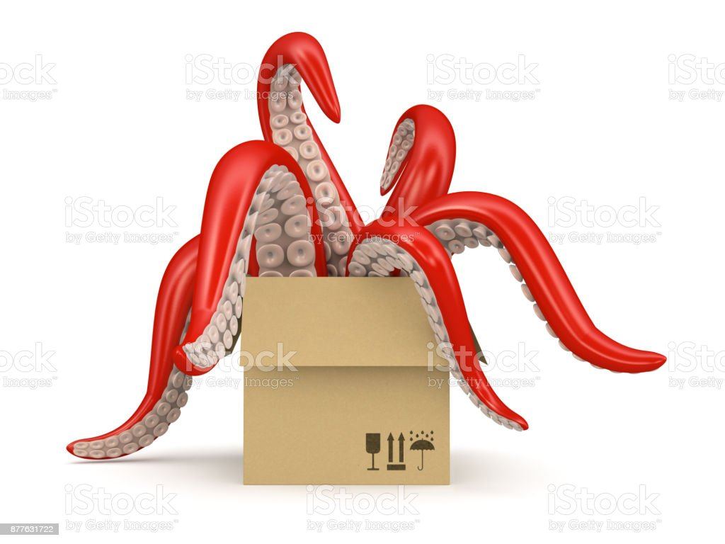 red tentacles in a cardboard box isolated on white background stock photo