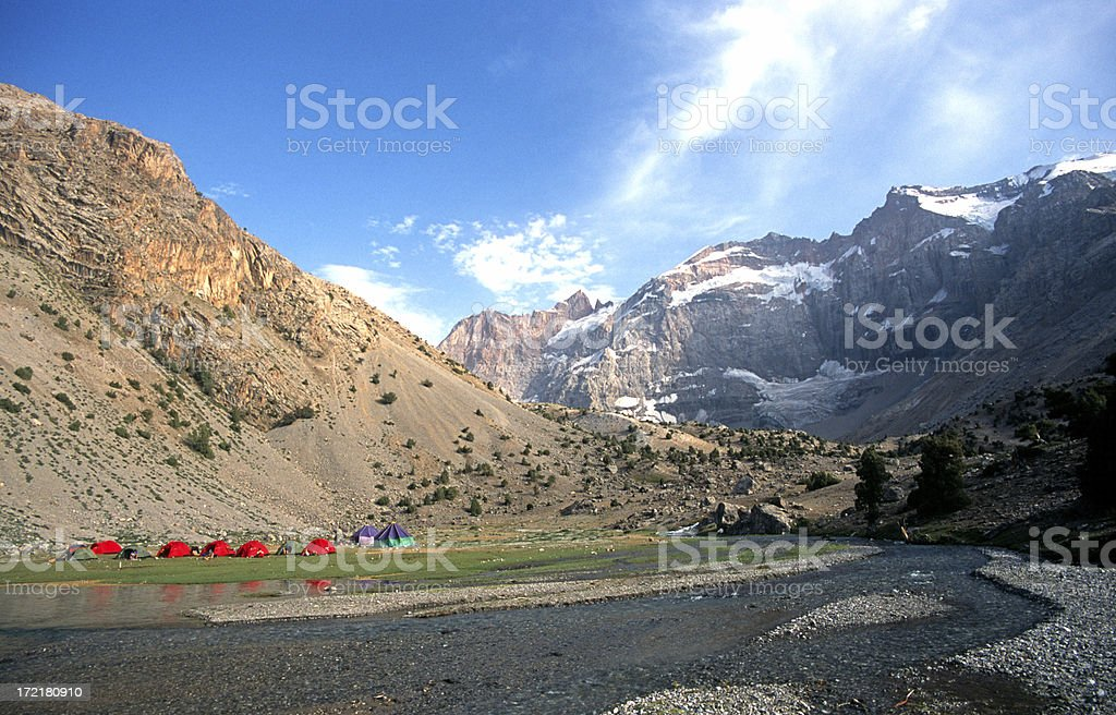 Red tents in the Pamir Mountains stock photo
