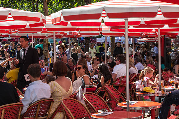 Red Terrace on Avenue des Champs Elysees stock photo